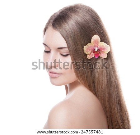beautiful woman with perfect skin and hair on a white background - stock photo
