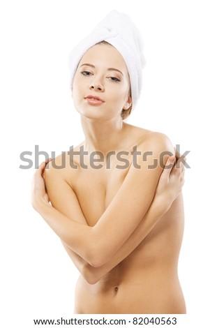 Beautiful woman with perfect skin, studio portrait - stock photo