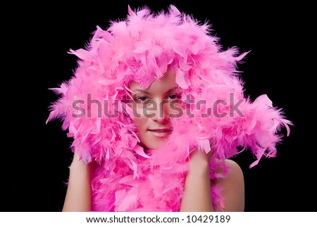 Beautiful woman with pink feathers