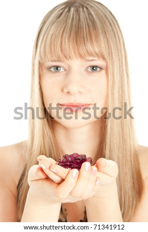 Beautiful  woman with pink ring looking to the camera (focus on jewel) - stock photo