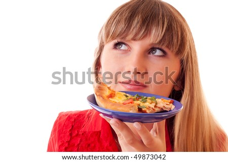 Beautiful woman with pizza over white - stock photo