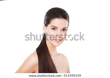 Beautiful woman with ponytail hairstyle. Beauty brunette fashion model girl with long healthy straight brown hair.