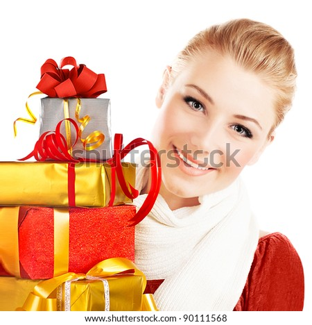 Beautiful woman with presents, close up portrait of female with Christmas gifts, girl giving and getting gift concept, greeting season and winter holidays, isolated on white background