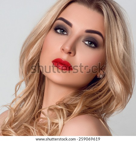 Beautiful woman with professional make up, selective focus
