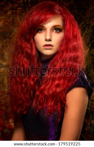 beautiful woman with red hair - stock photo