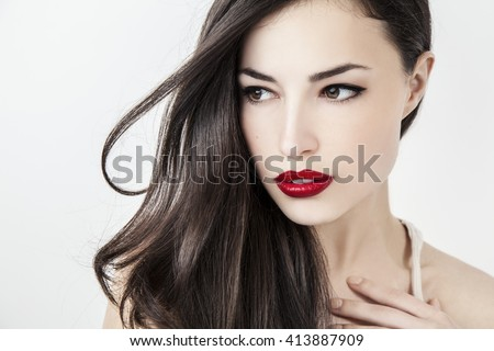 beautiful woman with red lips, closeup portrait, studio white