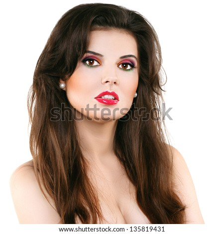 Beautiful woman with red lips on a white background