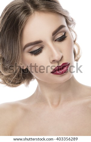Beautiful woman with red lips on white background isolated vertical