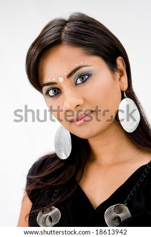 Beautiful woman with rhinestones and bindi, isolated - stock photo