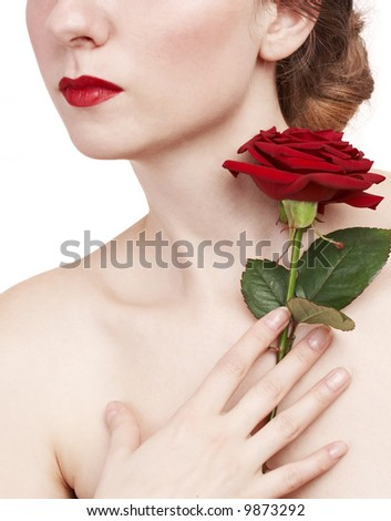 beautiful woman with rose and red lips