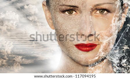 Beautiful woman with sand water sky and the sun - elements of nature