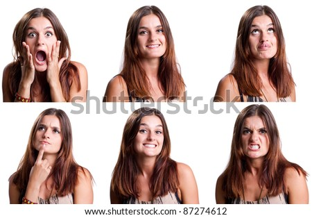 Beautiful woman with six different faces - stock photo