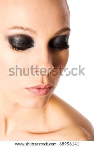 beautiful woman with smokey eyes makeup isolated - stock photo
