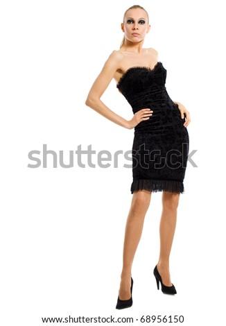 beautiful woman with smokey eyes makeup standing isolated - stock photo