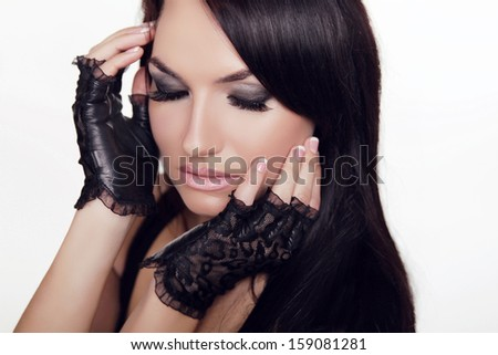 Beautiful Woman with Smokey Eyes. Sexy Lips and Nails closeup. Manicure and Makeup. Make up concept. Passion