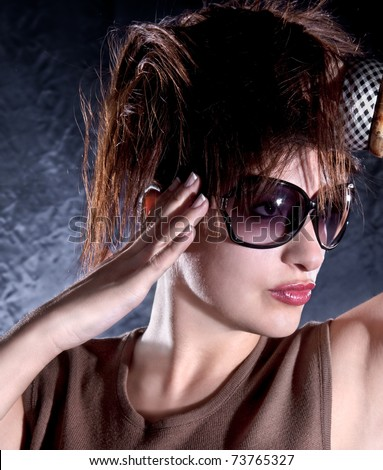 Beautiful  woman with sunglasses , studio shot