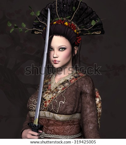 Beautiful woman with sword - stock photo