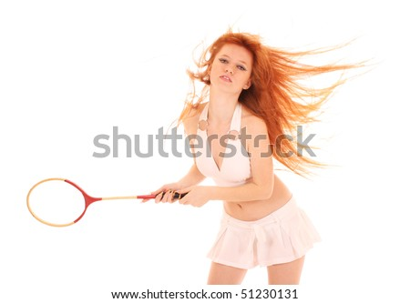 Beautiful woman with tennis racket isolated on white - stock photo