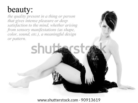Beautiful Woman with text space to the left - stock photo