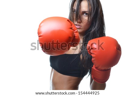 beautiful woman with the red boxing gloves, isolated on white background - stock photo