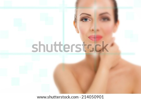 beautiful woman with the virtual hologram - stock photo
