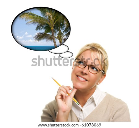 Beautiful Woman with Thought Bubbles of a Tropical Place Isolated on a White Background. - stock photo
