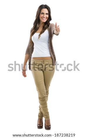 Beautiful woman  with thumbs up, isolated on white - stock photo