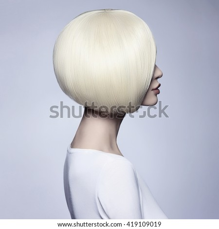 Beautiful woman with unusual bob hairstyle.blonde model girl - stock photo