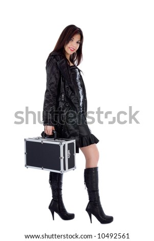 Beautiful woman with valise white background