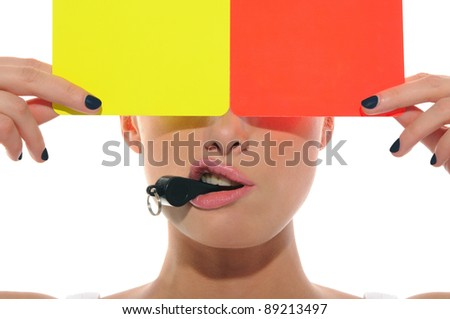 beautiful woman with whistle, yellow and red cards isolated on white - stock photo