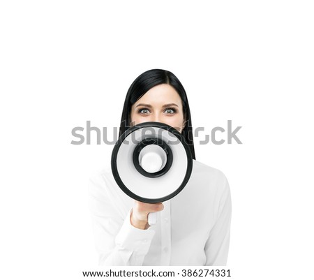 Beautiful woman with white loudspeaker. Front view. Isolated. Concept of informing.