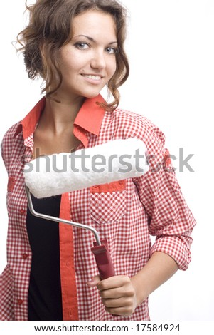 beautiful woman with white roll - stock photo