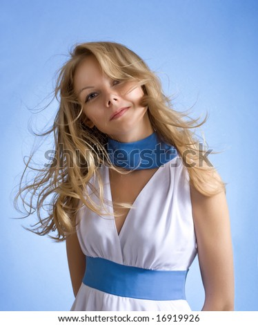 Beautiful Woman  with wind blown hair