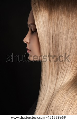 beautiful woman with wonderful hair.girl with healthy Hair - stock photo