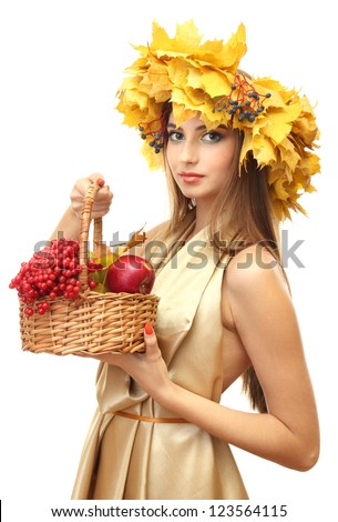 beautiful woman with wreath and basket with apples and berries, isolated on white - stock photo