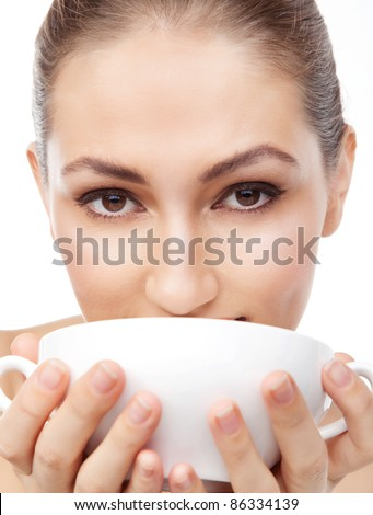 Beautiful woman Woman Drinking Coffee - stock photo
