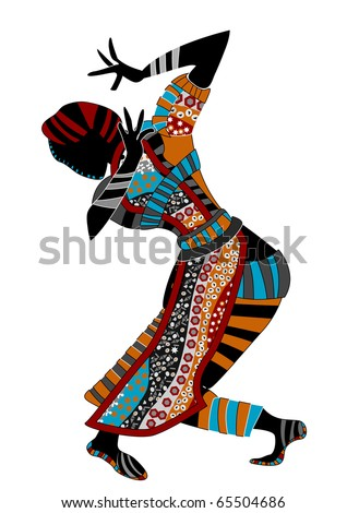 beautiful women dance ethnic dance on a white background - stock photo