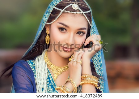 Beautiful women dressed persian  - stock photo