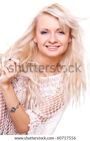 beautiful women face on a white background - stock photo