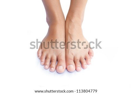 Beautiful women foot on background white