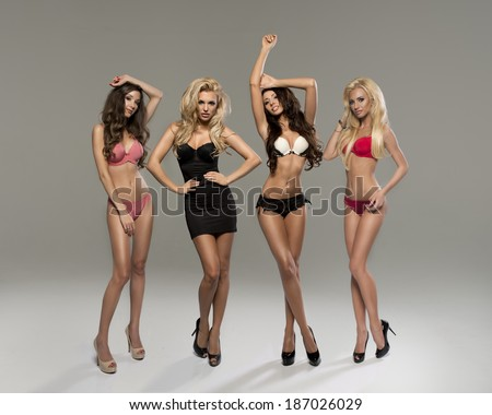 beautiful women in full growth pose in front of the chamber in lingerie  - stock photo