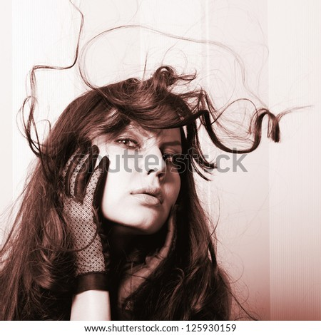 beautiful women in retro gloves with hair - stock photo