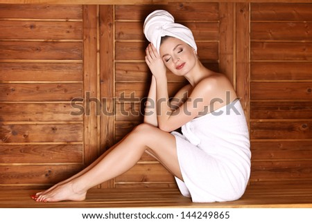 beautiful women in Spa sauna. Traditional Healthy Lifestyle treatment. - stock photo
