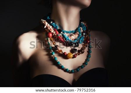 beautiful women neck with perfect jewelry - stock photo