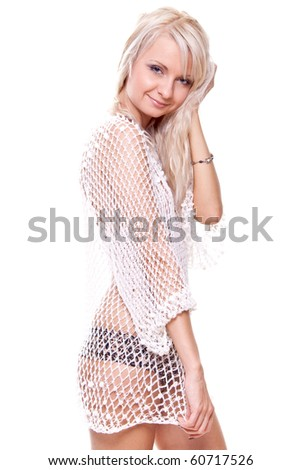 beautiful women posing in lingerie on a white background - stock photo