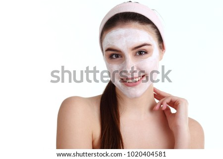 Pink facial mask, camy model nude pussy