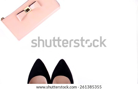 beautiful women's minimal set of fashion accessories on a white background, isolated - stock photo