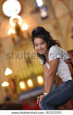 Beautiful Women Thailand Sit Church - stock photo