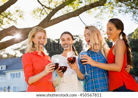 Beautiful women toasting a glasses of red wine in park