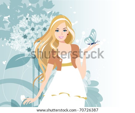 Beautiful women with flowers. Raster version of vector illustration.